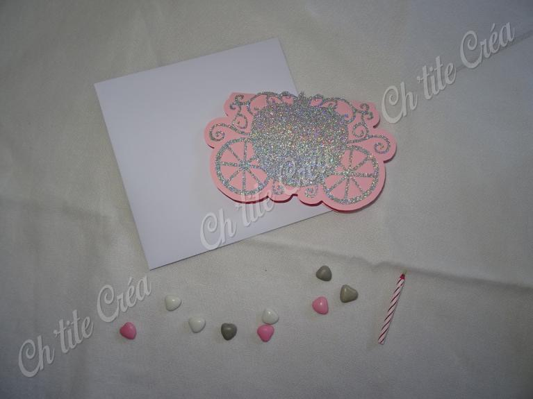 Faire part anniversaire carosse carte double
